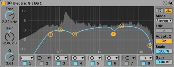 Ableton's EQ Eight audio effect.   Ableton, Music mixing, Audio