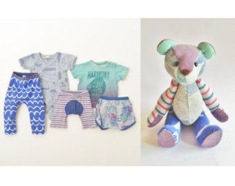 Teddy bear, Memory Bear, Keepsake Bear From Baby Clothing, Memorial Gift, Custom Teddy Bear, Remembrance bear