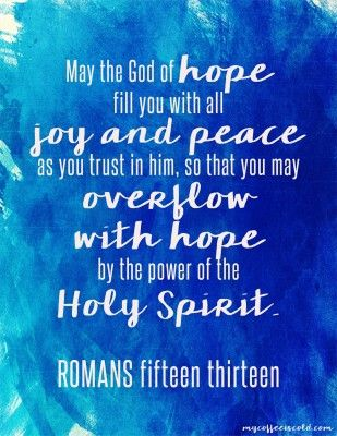 Free Printable Bible Verse from My Coffee is Cold in blue- Romans 15:13