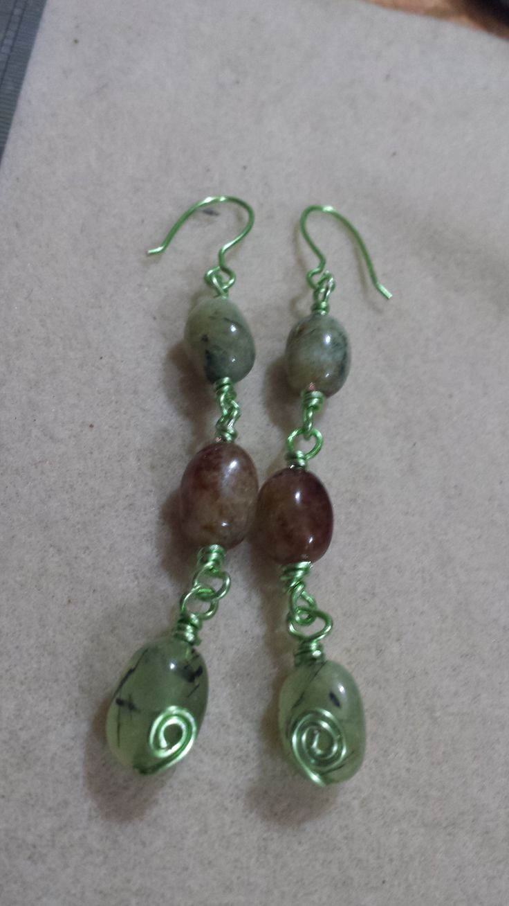 Hand crafted Chartreuse Ear-ring findings with Brandy Prehenite medium Nuggets