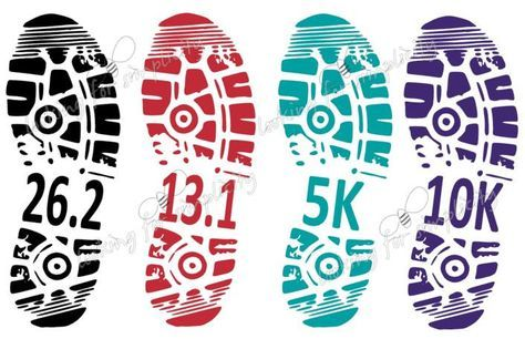 Shoe Print Marathon, Half Marathon, 10K or 5K Running Decal /Sticker for Car, Laptop or any non painted surface by LookingforSimplicity on Etsy