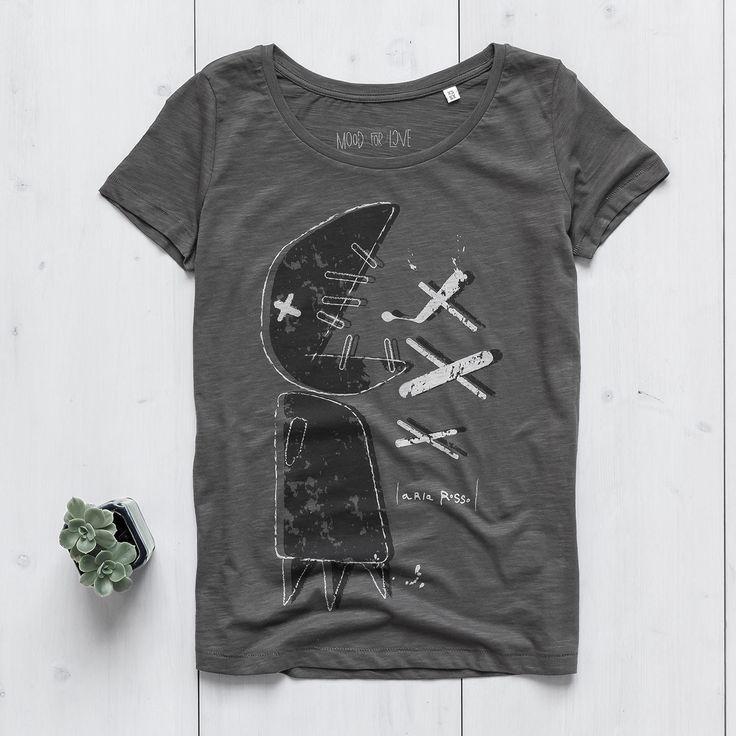 Women's Printed T-shirt anthracite organic slub cotton Big Fish Ariarosso