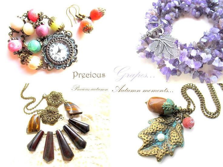 Hand-made autumn jewelry selection (necklaces/watch/earrings)