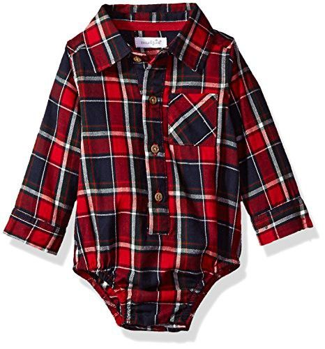 Mud Pie Baby Boys' Flannel Plaid Long Sleeve Collared One Piece Crawler, Red, 6-9 MOS