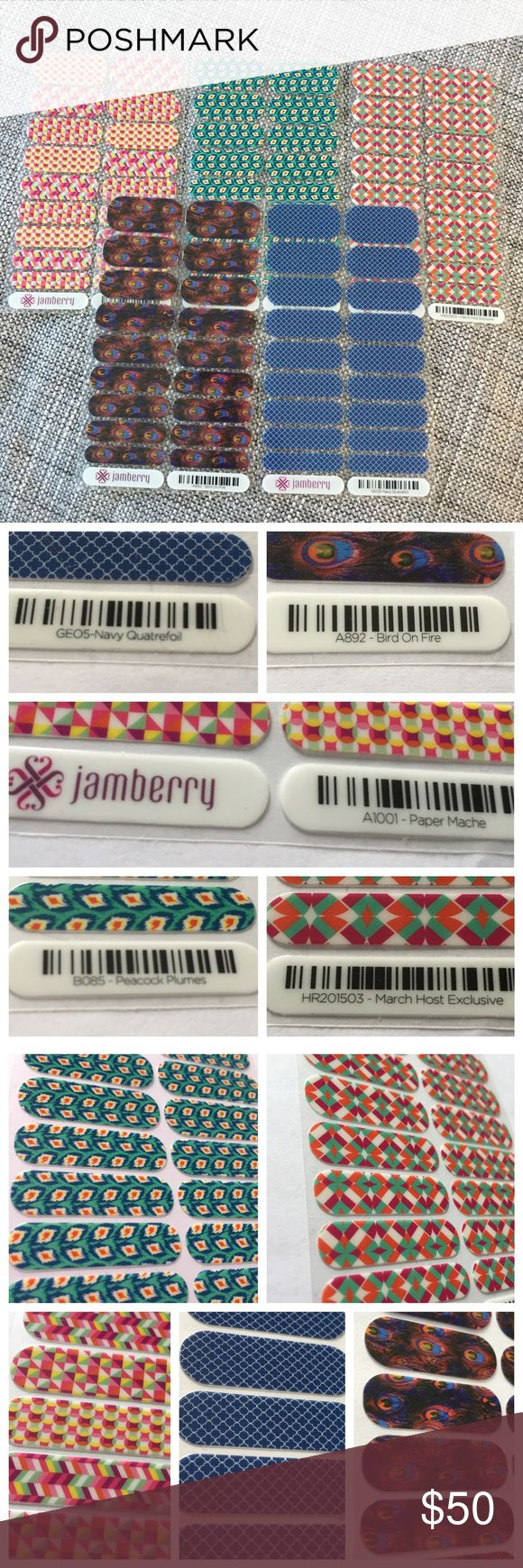 Jamberry Nails Lot of 5 Sheets Glossy Prints This is a lot of 5 Jamberry Nail Sheets! Prints: -Full Navy Quatrefoil -Full Peacock Plumes -Full Bird on Fire -Full Paper Mache  -Full March Hostess Exclusive 2015 Finish: Glossy  Condition: comes without original Jamberry wrapper because they were stored in an album  Non-smoker.  I am always happy to bundle.  I hope you love my closet! Search for my items by size using my hashtag #thecoralseahorse and your preferred size! jamberry Makeup