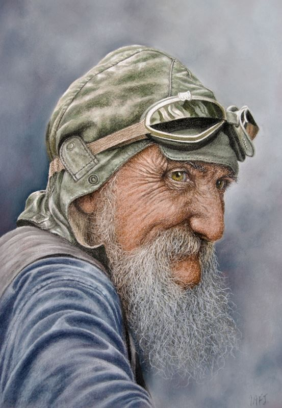 """March 2016 - Ivan completes his latest portrait """" The Aviator"""""""