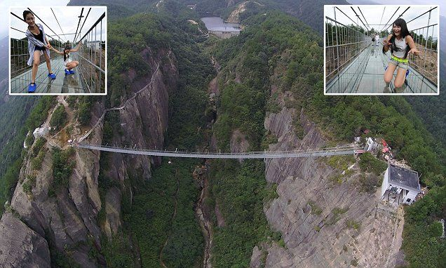 China's spectacular glass-bottomed bridge opens today #DailyMail