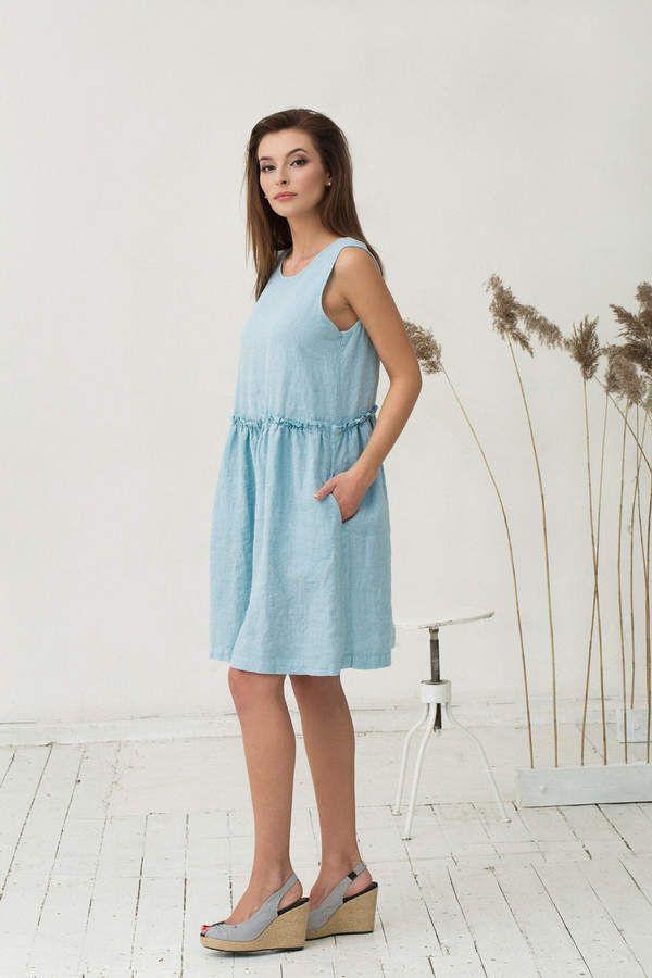 6ba6f55120 Etsy Light blue linen dress. Oversized loose fit linen dresses.  Stonewashed.  dress