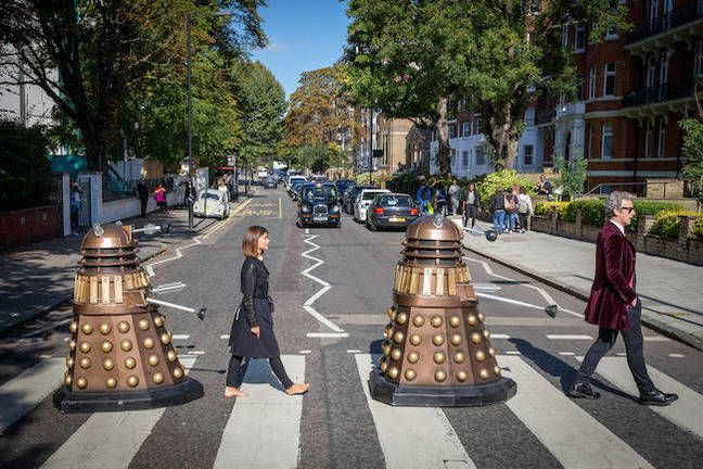 Doctor Who and Clara on Abbey Road. Pic credit: BBC