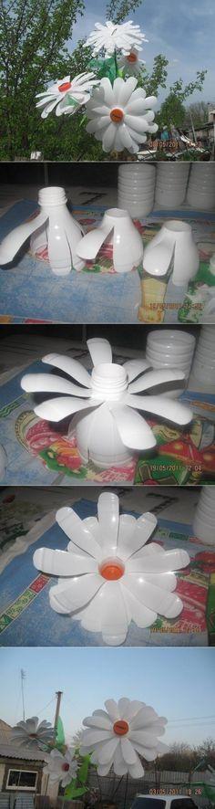 Ромашки из пластиковых бутылок