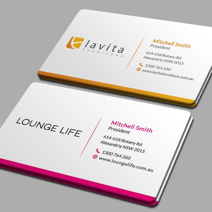Create a double sided business card for two furniture brands by