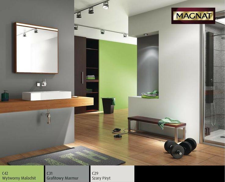 Połączenie szarego i zielonego koloru w łazience