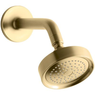 Kohler Purist 2.5 GPM Single-Function Wall-Mount Shower Head with Arm and Flange Finish: Vibrant