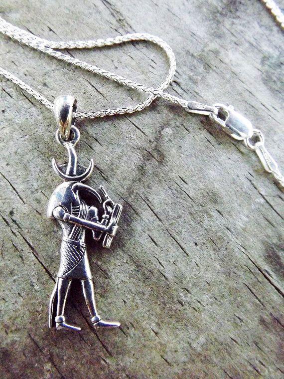 Thoth, ägyptischer Gott der Magie und Schreiber des Wissens - Silber Anhänger & Kette