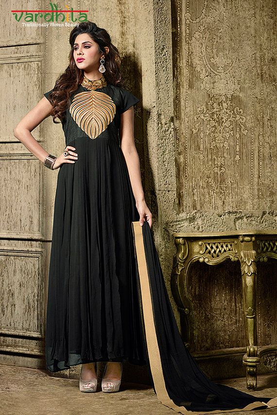 Black Color Faux Georgette Fabric Suit Salwar by VardhitaSarees