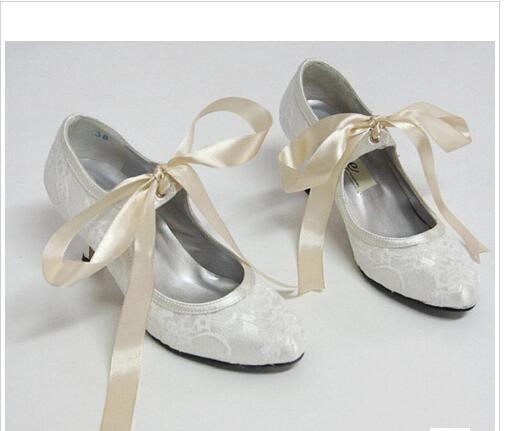 Merletto Di Arrivo A Punta In Raso Bianco Avorio Wedding Promenade Scarpe Danza 5 Cm Alto Tallone Della Signora