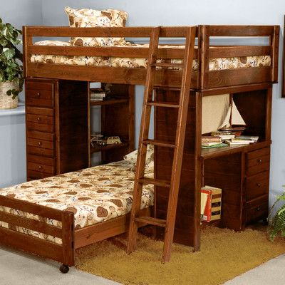 Chelsea Home Twin Over Twin L Shaped Bunk Bed With Storage U0026 Reviews |  Wayfair