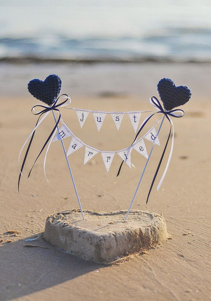 Beach Wedding Cake Topper Just Married Cake Topper with Navy Blue Hearts White Burlap Banner Rustic Wedding Decor Garland Centerpiece by LoveStoryStore on Etsy