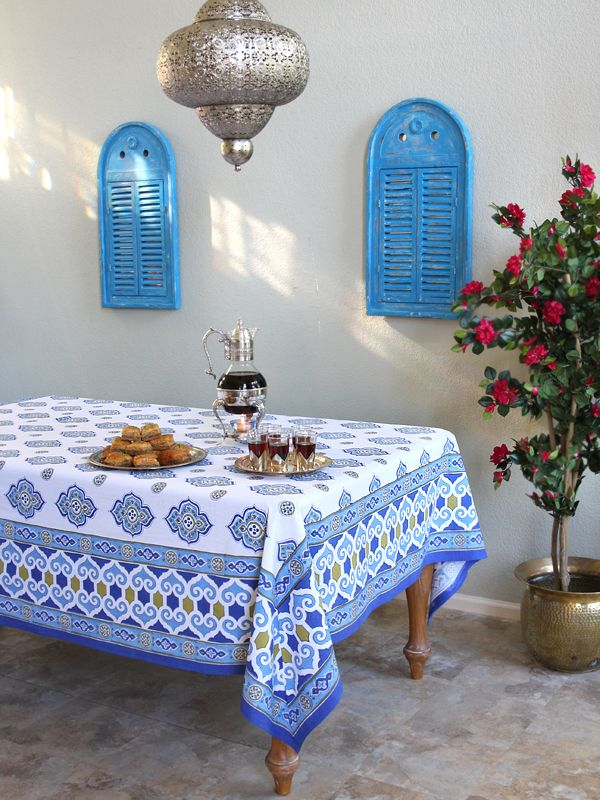 Nice Moroccan Tablecloth, Blue And White Tablecloth , Ivory Tablecloth,Cotton  Tablecloth