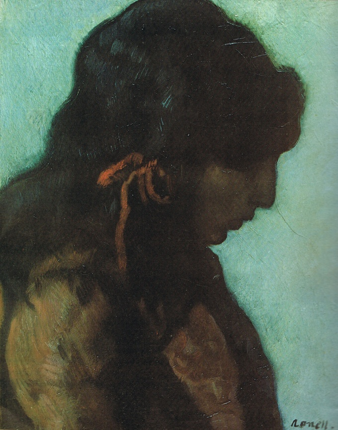 """Isidre Nonell 1872-1911 Gypsy, Red Bow 1902 Oil on canvas 21¼""""x18"""" Private collection"""
