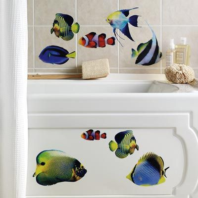 14 Piece Tropical Fish Bathroom Wall Stickers Xox Sept