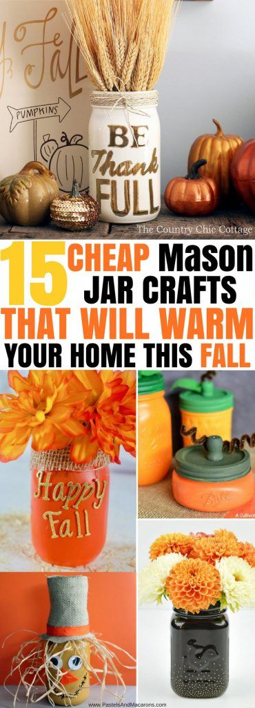 These are The BEST Mason Jar Crafts for Fall and all in one place. I love all of these great decorating ideas on a budget. If you love DIY for your home, you have to check out these Mason Jar Crafts. I love the painted jars as well as all of the centrepiece ideas. They also have some gorgeous luminaries you can make. LOVE!