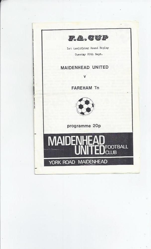 maidenhead united v fareham town fa cup replay #Football programme 1983/84 from $1.8