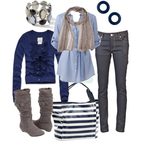 cute & preppy: Yachts Club, Clothing Ideas, Dreams Closet, Blue Sweaters, Fashion Style, Style Navy Blue, Fall Outfit, Blue Stripes, Fashionista Style
