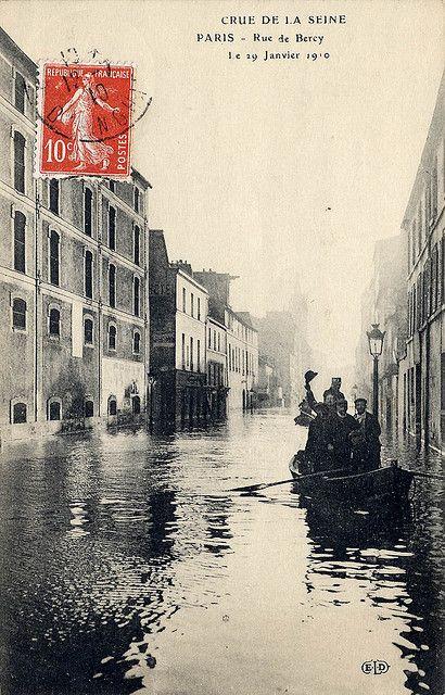 Rue de Bercy, Crue de La Seine, Paris 29 Janvier 1910
