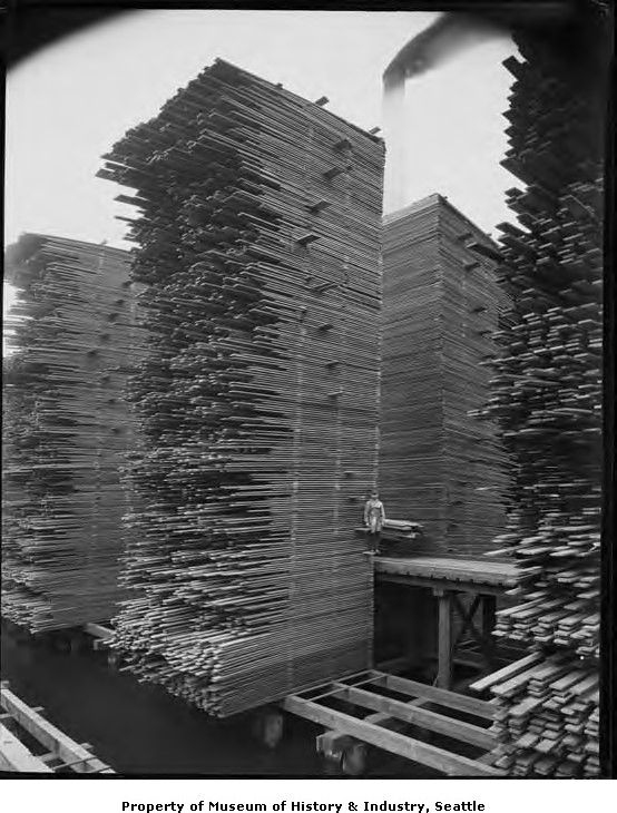 Now that's just plain showing off.  Seattle Cedar Lumber Manufacturing Company's mill in the Ballard area of Seattle.  c. 1919