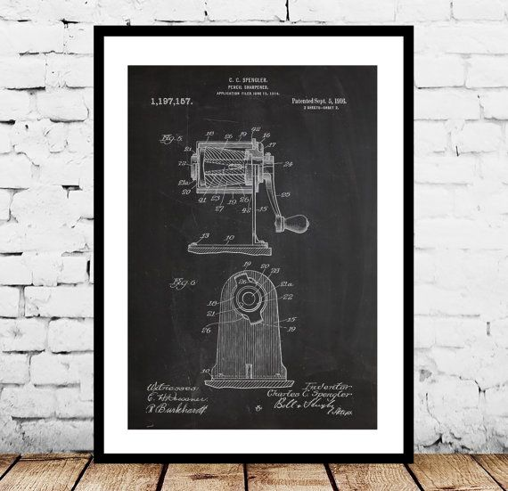 Pencil Sharpener Patent, Pencil Sharpener Poster, Pencil Sharpener Print, Pencil Sharpener Art, Pencil Sharpener Decor, School by STANLEYprintHOUSE  1.00 USD  Pencil Sharpener Patent, Pencil Sharpener Poster, Pencil Sharpener Print, Pencil Sharpener Art, Pencil Sharpener Decor, School  This poster is printed using high quality archival inks, and will be of museum quality. Any of these posters will make a great affordable gift, or tie any r ..  https://www.etsy.com/ca/listing/242080..