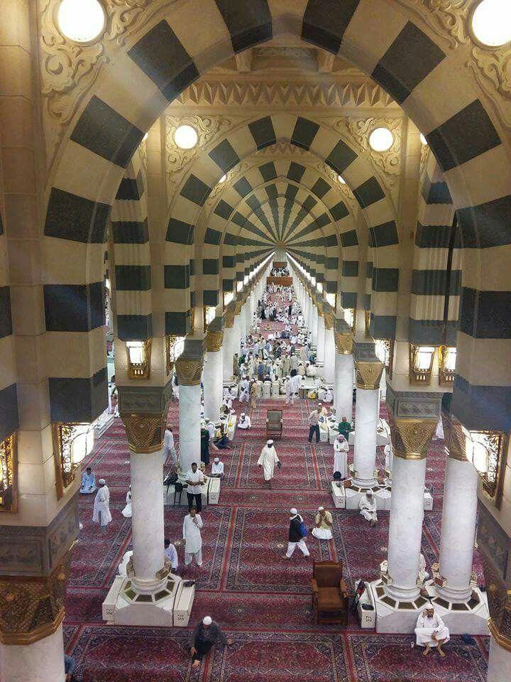 Beautiful view of the interior of masjid al nabavi #Medina