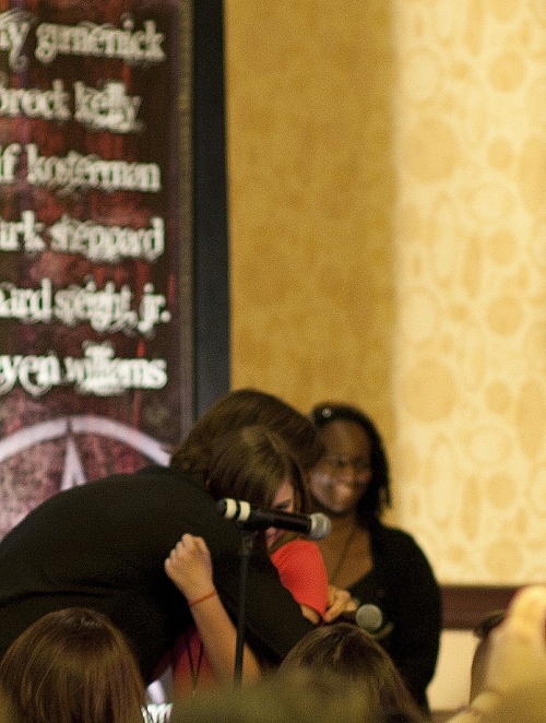 """A little girl, couldn't have been older than 13, came up the microphone and, long story short, proceeded to ask """"Mr. Padalecki"""" why """"Mrs. Padalecki"""" doesn't come to the cons, because she """"is really pretty"""". Jared then decided to almost knock over his chair as he headed off the stage to hug the young girl."""