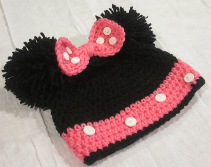 Crochet Minnie Mouse Hat.  Like concept pom poms for ears and the buttons