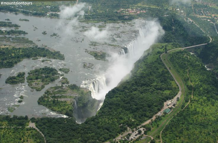 Victoria Falls is a waterfall in southern Africa on the Zambezi River at the border of Zambia and Zimbabwe.