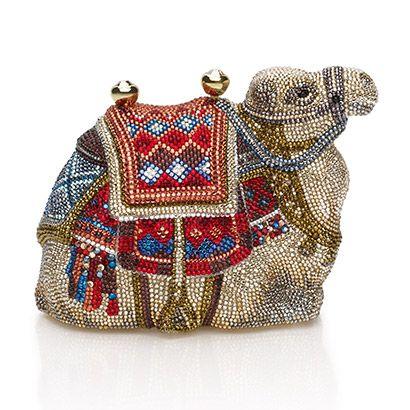 Judith Leiber handbags. Camel.