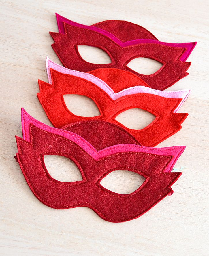 PJ Masks Owlette mask in three different color variations.
