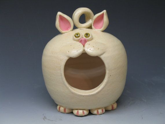 Cat Mouth Bird Feeder Handmade Ceramic Pottery By Heidi