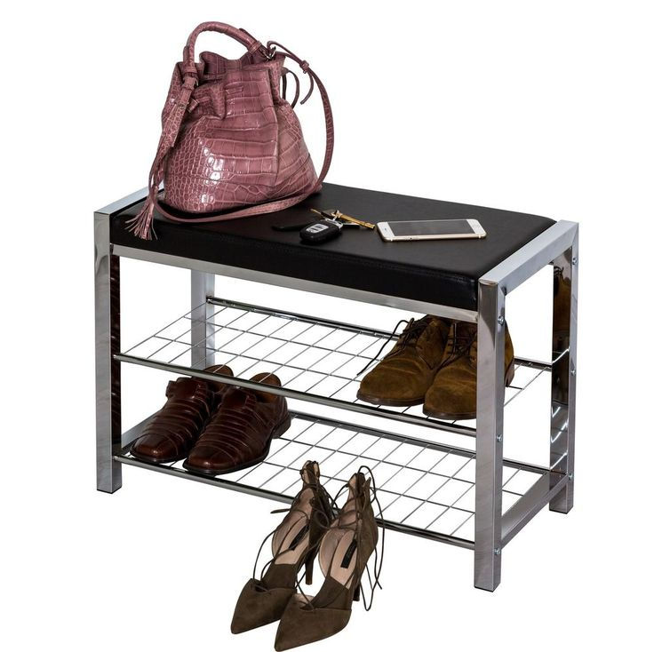 3 Tier Chromed Storage Shoe RackBench With White