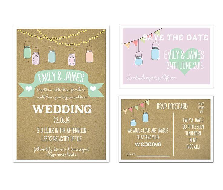 'jars' wedding stationery range by a bird & a bee   notonthehighstreet.com