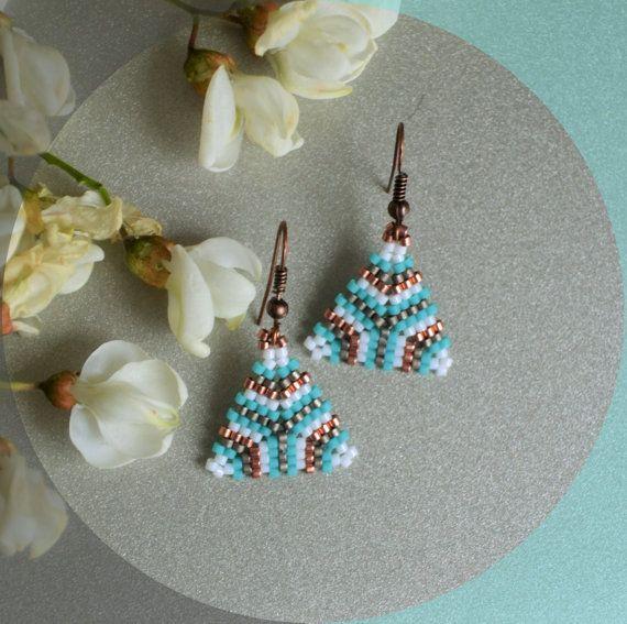 Summer boho earrings, turquoise earrings, triangle earrings, beaded jewelry