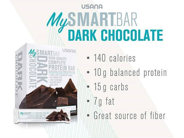 MySmartBar Dark chocolate Dark Chocolate is a rich, decadent  flavor that will satisfy your taste buds and deliver high-quality, complete protein and  fiber.  #healthybars #mysmartbars #mysmartfoods #usana #Glutenfree #Lowglycemicimpact #Highqualityprotein #Notgeneticallyengineered #Notransfats #Highdietaryfiber