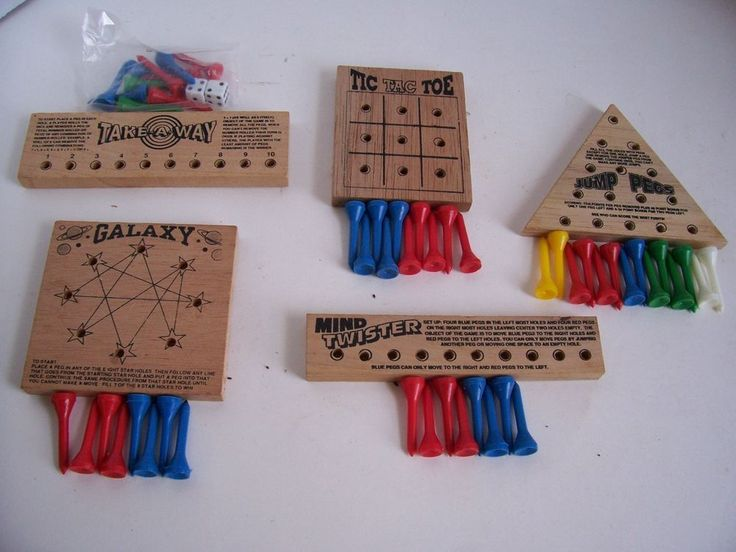 5 Vintage Wood Peg Puzzles Travel Games Galaxy Jump Pegs