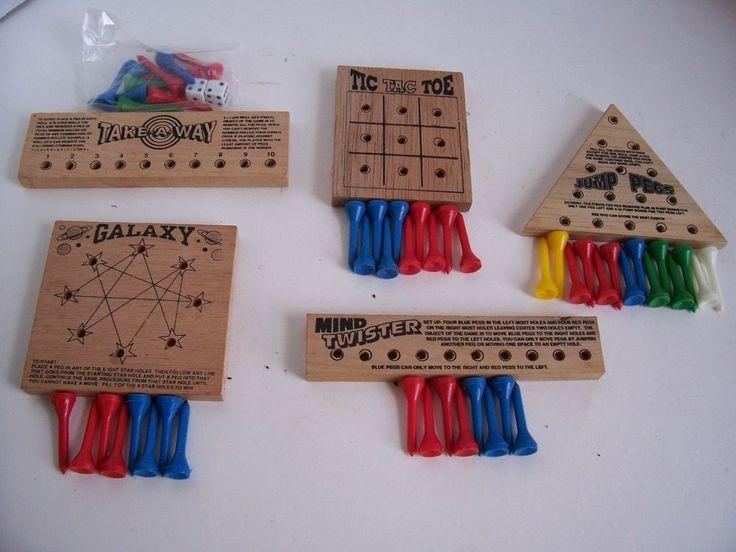 5 Vintage Wood Peg Puzzles Travel Games Galaxy Jump Pegs