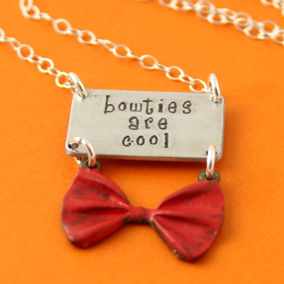 Doctor Who Necklace - Bowties Are Cool - Hand Stamped Doctor Who Necklace on Etsy, $28.00