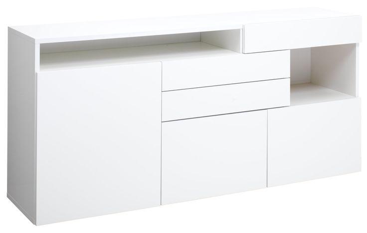 Sideboard GAVIN, 3-türig,3 Schubladen,2 offene Fächer,Korpus,Schubladen und Türen Spanplatte Folie weiss lackiert Hochglanz,Schubladen und Türen mit «Push to open»-Funktion