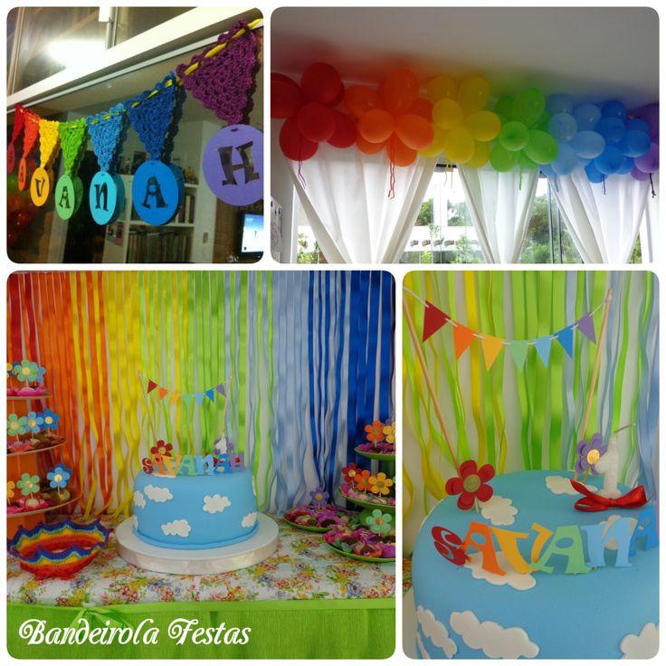 Festa arco-Iris menina 1 ano - mini decoracsi