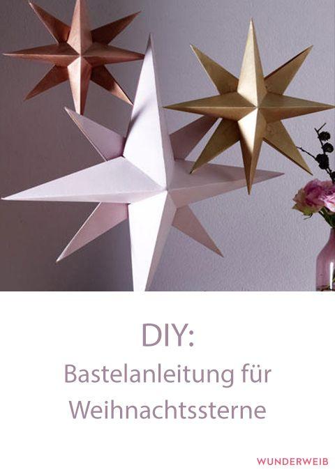 Diese hübschen Sterne kannst du ganz leicht nachbasteln. #weihnachten #weihnachtsbasteln #advent