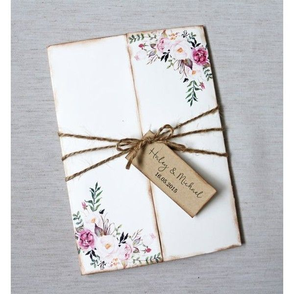 Floral Wedding Invitation. Rustic Wedding Invitation. Boho Wedding... ❤ liked on Polyvore featuring home, home decor, floral wedding invitations and floral home decor