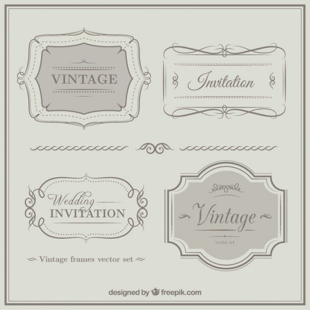 Vintage weeding invitation ornaments Free download
